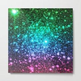 glitter Cool Tone Ombre (green blue purple pink) Metal Print