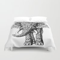 ornate elephant Duvet Covers featuring Navajo Elephant by BIOWORKZ