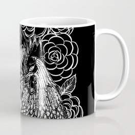 Rooster&Camellia Hat, White on Black Coffee Mug