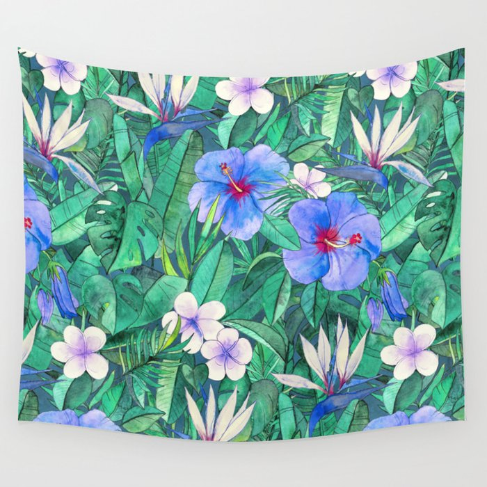 White Bird Of Paradise Blue Hibiscus Tropical Garden Wall Tapestry