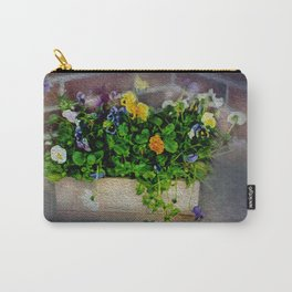 Pansies in Wood Box Carry-All Pouch