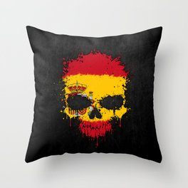 Flag of Spain on a Chaotic Splatter Skull Throw Pillow