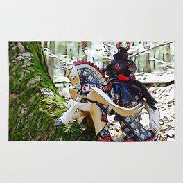Gallant knight upon Pegasus Rug