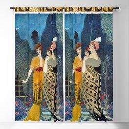 Les Modes, Art Deco Women in Poiret Evening Wear Roaring Twenties portrait painting - George Barbier Blackout Curtain