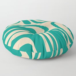 Palm Springs - Midcentury Modern Abstract Pattern in Mid Mod Turquoise Teal and Beige  Floor Pillow
