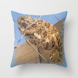 Chameleon In Shades of Brown on Fence Throw Pillow