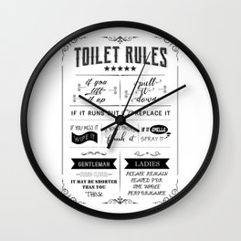 Toilet Rules Wall Clock