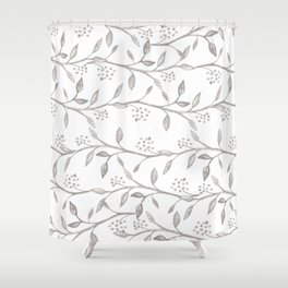 Gray ivory hand drawn watercolor leaves floral berries pattern Shower Curtain