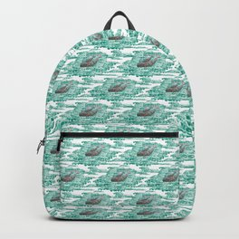 Mama + Baby Gray Whale in Ocean Clouds Backpack