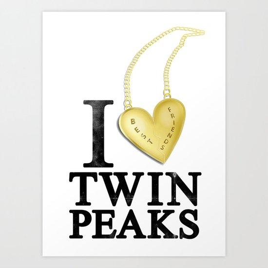 I Love Twin Peaks (Gold Heart Necklace) Art Print