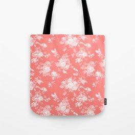 Vintage elegant coral white bohemian floral Tote Bag