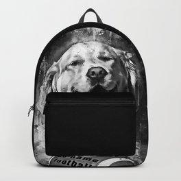 golden retriever dog football splatter watercolor black white Backpack
