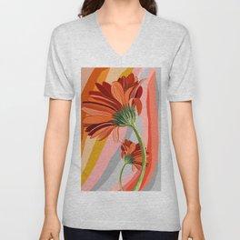 Flower petals stripes and bright Gerbera Unisex V-Neck