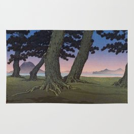 Kawase Hasui Vintage Japanese Woodblock Print Pink Purple Hues Ombre Sunset Through Pine Trees Lands Rug