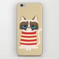 meme iPhone & iPod Skins featuring Grumpy meme cat  by UiNi