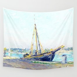 Boat on a beach Wall Tapestry