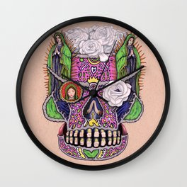 Our Lady of Guadalupe Skull Mask Wall Clock