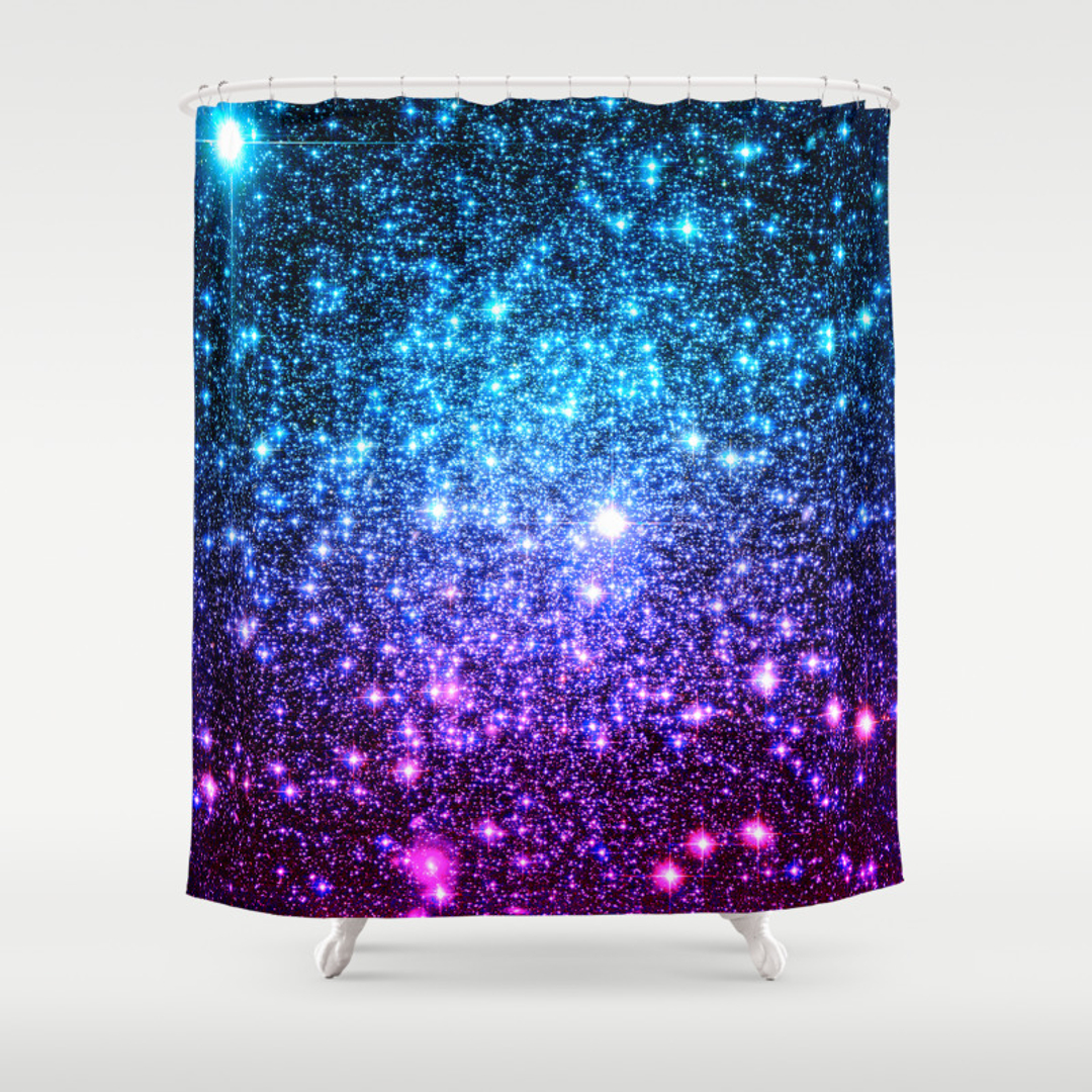 Astralglitterseries Shower Curtains Society - Purple and gold shower curtain