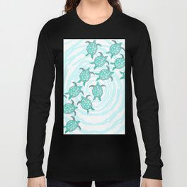 Watercolor Teal Sea Turtles on Swirly Stripes Long Sleeve T-shirt