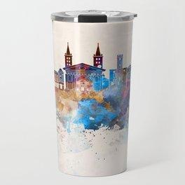Aosta skyline in watercolor background Travel Mug