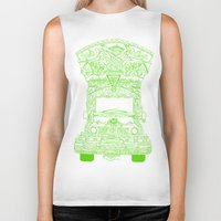lime green Biker Tanks featuring Pakistani Truck. (Lime Green) by ApaAli.