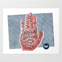 michigan Art Prints featuring Michigan by Friends of Type