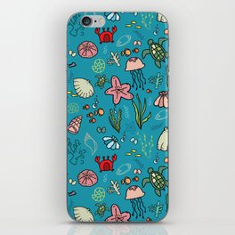 Beach and underwater pattern - fish and turtles and sea shells, oh my! iPhone Skin