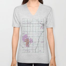 Vintage Map of Chandler & Gilbert Arizona (1952) Unisex V-Neck