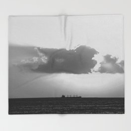 Evening clouds over the sea Throw Blanket