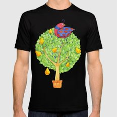 Partridge in a Pear Tree MEDIUM Black Mens Fitted Tee