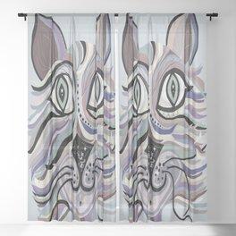 Denim Cat Sheer Curtain