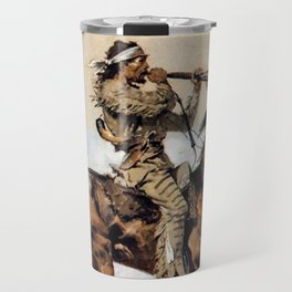 "Frederic Remington ""Buffalo Hunter Spitting Bullets"" Western Art Travel Mug"