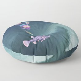 Tropical Fish and Wave Floor Pillow