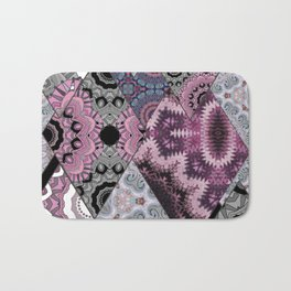 The national pattern in the patchwork . Purple Bath Mat