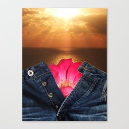 Unbuttoned jeans on the sunset background Canvas Print
