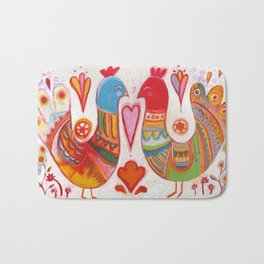 Folk Love Birds Bath Mat