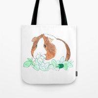 guinea pig Tote Bags featuring Guinea Pig Clover by Elena O'Neill