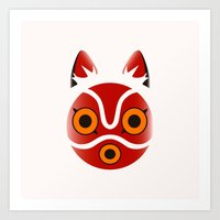 princess mononoke Art Prints featuring Mononoke by Miss Phi