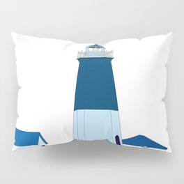 Lighthouse Illustration Beach Decor Ocean Blue Pillow Sham