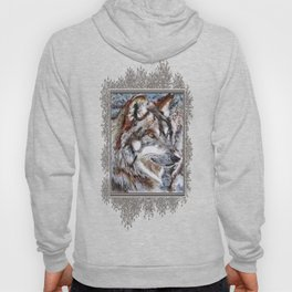 Gray Wolf Watches and Waits Hoody