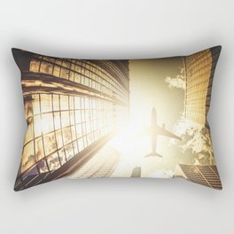 airplane in new york city Rectangular Pillow