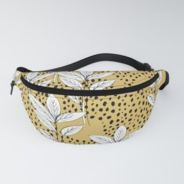 Summer leaves fall is coming garden and raindrops ochre yellow Fanny Pack