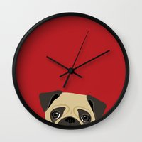 pug Wall Clocks featuring Pug by Anne Was Here