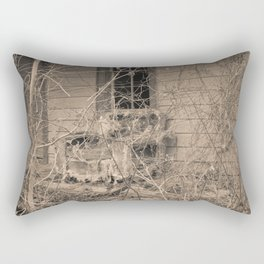 Engulfed House with Vines (Untitled Sepia 4) Rectangular Pillow