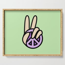 CND Peace symbol Hand V Sign Serving Tray