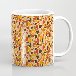 Retro Flowers in warm earth tones - yellow, red and brown Coffee Mug
