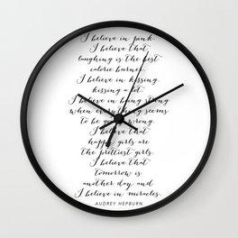 I Believe In Pink. I Believe That Laughing Is the Best Calorie Burner… -Audrey Hepburn Script Wall Clock