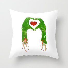 zombie hand making heart Throw Pillow