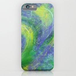 Abstract Blue, green and yellow marbled iPhone Case