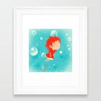 ponyo Framed Art Prints featuring Ponyo by Peerro